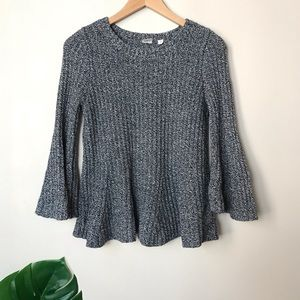 GAP | Bell Sleeve Peplum Flared Knit Sweater XS